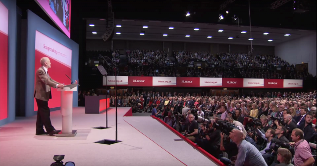 Jeremy Corbyn addressing the Labour Party Conference in Brighton, September 29, 2015. Image credit: Screencap/Channel 4 News.