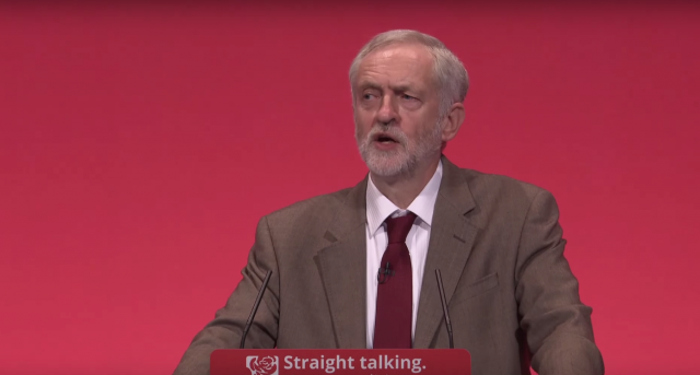 Labour leader Jeremy Corbyn speaking in Brighton. Image credit: Screencap/Channel 4 News