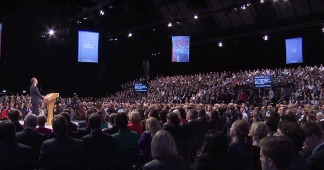 David Cameron addressing the Conservative Party conference in Manchester. Image credit: Screencap/Channel 4 News