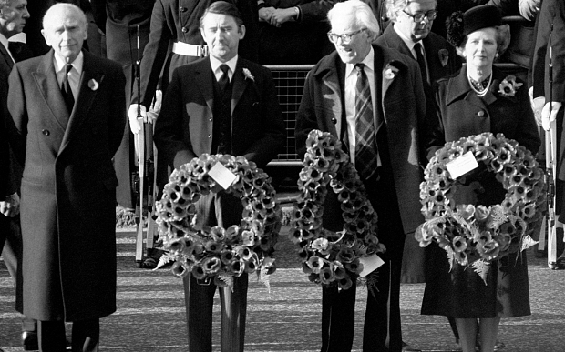 Michael Foot dies...File photo dated 8/11/1981 of the Prime Minister, Margaret Thatcher, with other politicians, (from left) Lord Home, Liberal leader David Steel and opposition leader Michael Foot with a wreath at the Cenotaph in Whitehall, London, for the Remembrance Sunday service. Foot has died, Justice Secretary Jack Straw told MPs today. He was 96. PRESS ASSOCIATION Photo. Issue date: Wednesday March 3 2010. See PA story DEATH Foot. Photo credit should read: PA Wire
